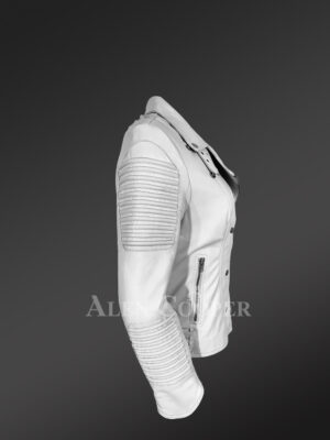 Extremely chic and fashionable white leather Jacket for women side view