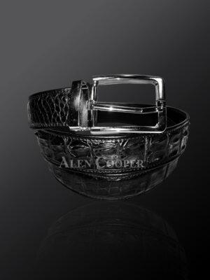 Genuine alligator skin black leather belt with metal buckle (2)