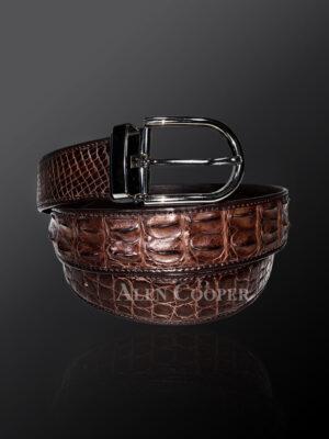 Genuine alligator skin leather belt in brown with metal buckle (1)