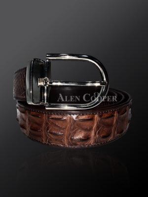 Genuine alligator skin leather belt in brown with metal buckle (2)