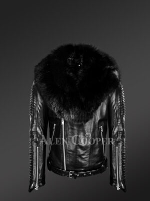 Men's authentic leather biker jacket with chic fur collar