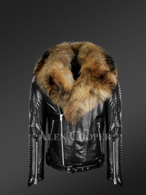 Mens leather jacket with chic Finn raccoon fur collar