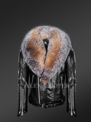 Plush Leather Jackets for men with pure fox fur collar