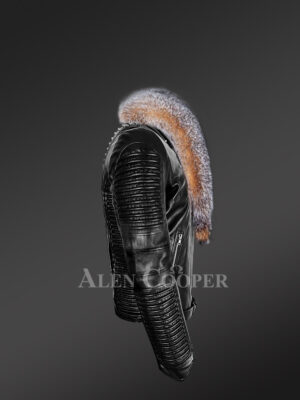 Plush Leather Jackets for men with pure fox fur collar side view