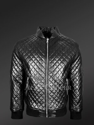 Stylish and attractive leather quilted baseball bomber jacket