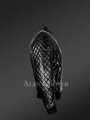 Stylish and attractive leather quilted baseball bomber jacket side view