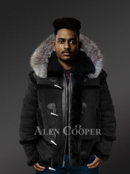 Chic shearling jacket with authentic fur hood for men 1