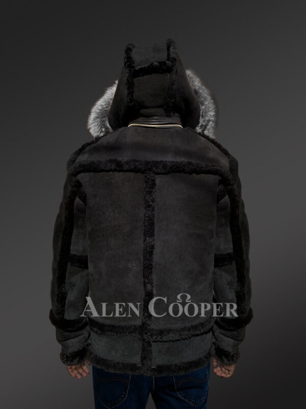 Chic shearling jacket with authentic fur hood for men 1 Back Side view