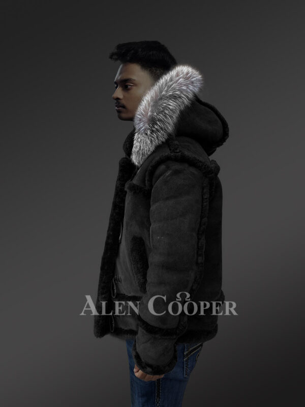 Chic shearling jacket with authentic fur hood for men 1 side view