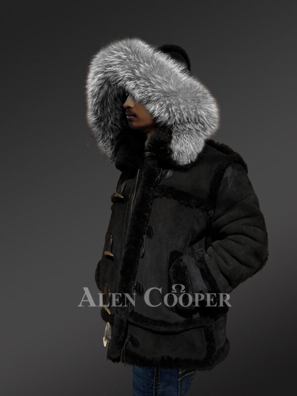 Chic shearling jacket with authentic fur hood for men 1 side views
