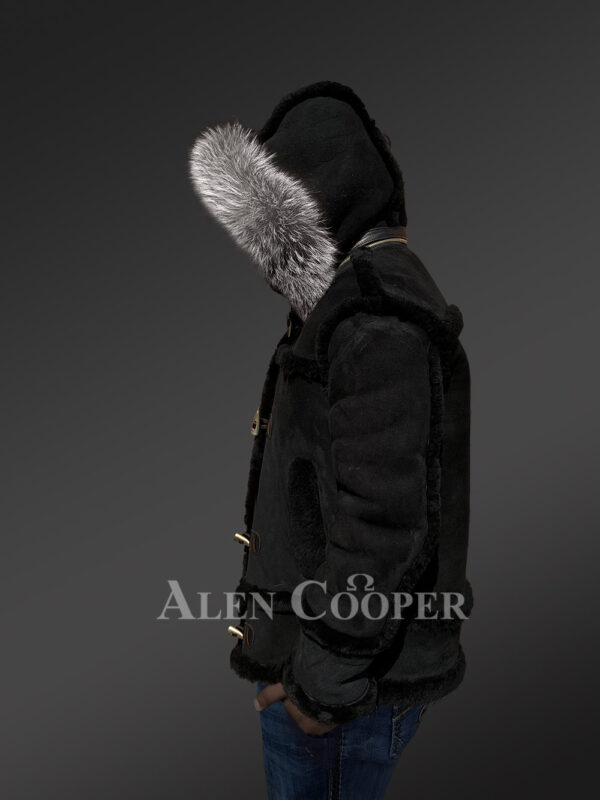 Chic shearling jacket with authentic fur hood for men 1 sideview