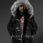 Chic shearling jacket with authentic fur hood for men 2
