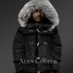 Chic shearling jacket with authentic fur hood for men 3
