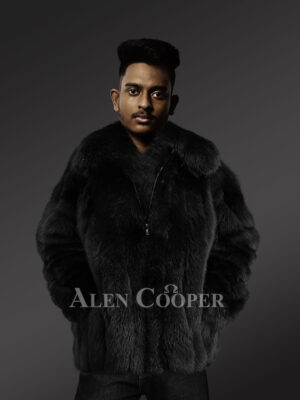 Genuine fox fur jacket for trendy and stylish men new