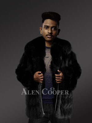 Genuine fox fur jacket for trendy and stylish men's new