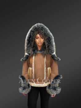 Ladies' stylish tan shearling jackets with fox fur cuffs