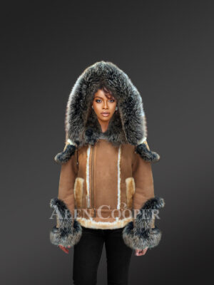 Ladies' stylish tan shearling jackets with fox fur cuffs