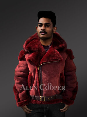 Men's lambskin jacket with fox fur hood and leather belt New