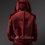 Men's lambskin jacket with fox fur hood and leather belt New Back Side view