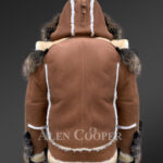 Men's stylish shearling jacket with fur collar and hood new back side view