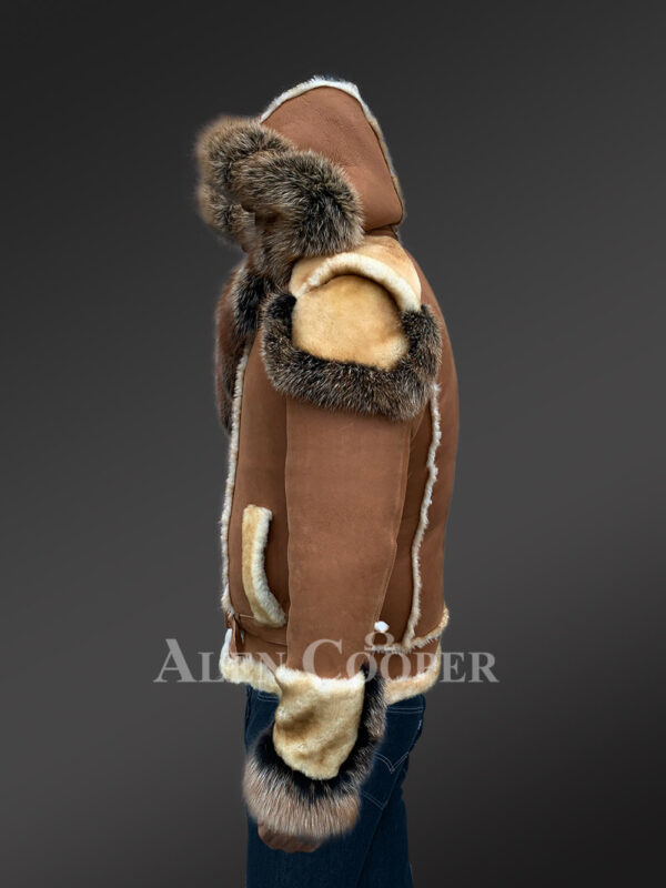 Men's stylish shearling jacket with fur collar and hood new side view