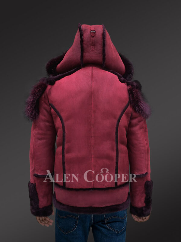 Men's wine shearling jacket with fur collar and hood new back side view