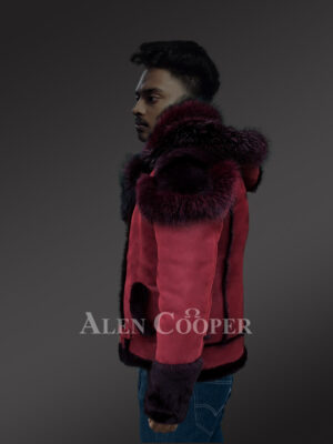 Men's wine shearling jacket with fur collar and hood new side view