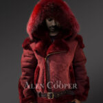 Mens lambskin jacket with fox fur hood and leather belt New