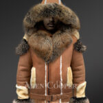 Mens stylish shearling jacket with fur collar and hood new