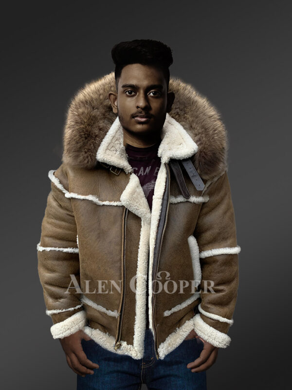Plush shearling jacket with fur hood for tasteful mens New 1