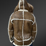 Plush shearling jacket with fur hood for tasteful mens New 1 Back Side view