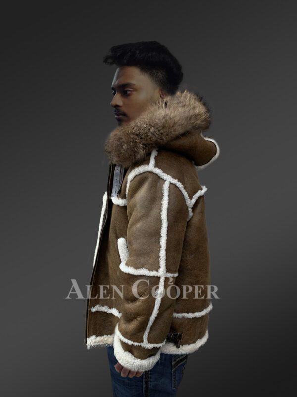 Plush shearling jacket with fur hood for tasteful mens New 1 Side view