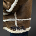 Plush shearling jacket with fur hood for tasteful mens New 1 close view