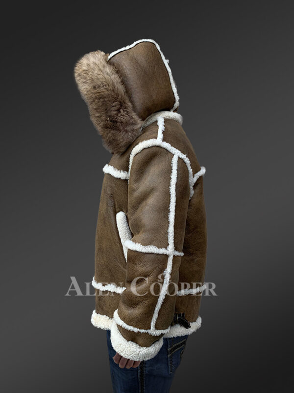 Plush shearling jacket with fur hood for tasteful mens New 1 side views