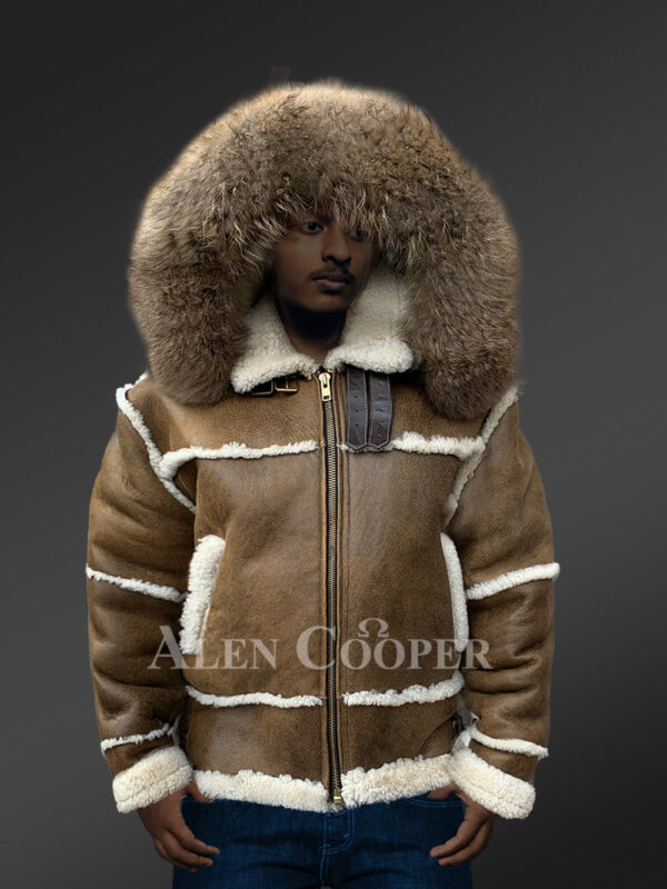 Plush shearling jacket with fur hood for tasteful mens New 3