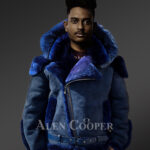 Shearling jacket with fur hood for smart and stylish men New