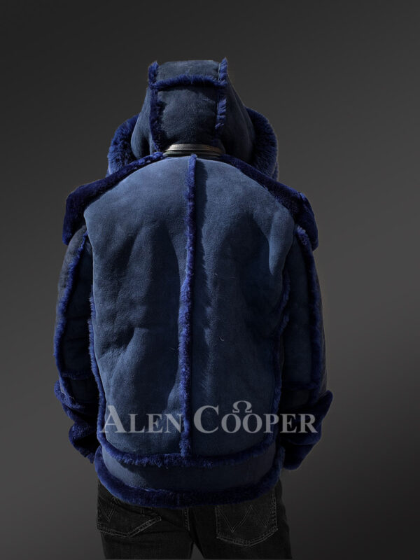 Shearling jacket with fur hood for smart and stylish men New back side view