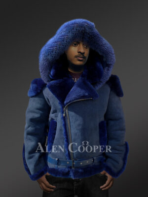 Shearling jacket with fur hood for smart and stylish men New views