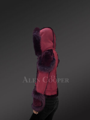 Women's wine suede-finish shearling jacket with fox fur side view