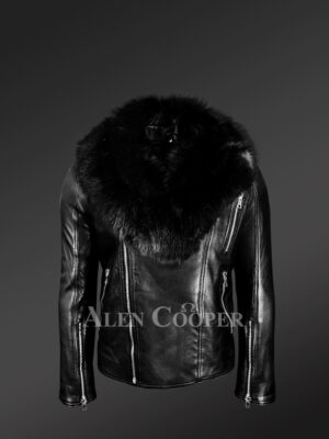 Black-Motorcycle-Leather-Jacket-With-Fox-Fur-Collar