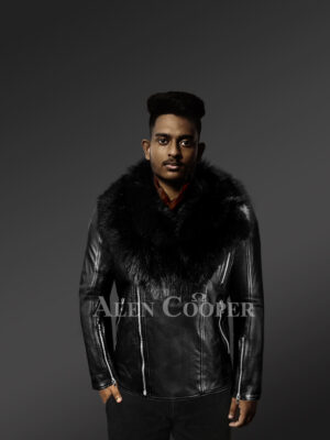 Black-Motorcycle-Leather-Jacket-With-Fox-Fur-Collar With Model