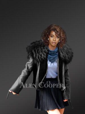 Black leather jacket with removable fur collar for stylish women