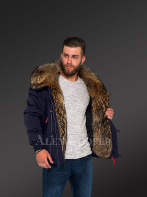 Parka bomber in Navy with Finn raccoon fur hood and frontline for stylish men