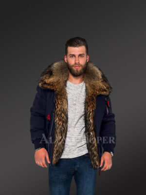 Parka bomber in Navy with Finn raccoon fur hood and frontline for stylish men view