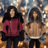 Suede-Finish Shearling Jackets With Stylish Fox Fur Hood And Other Style Features