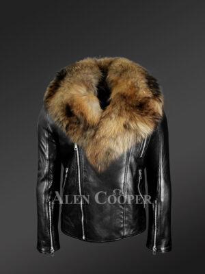 mens-biker-jacket-with- detachable raccoon-fur-collar