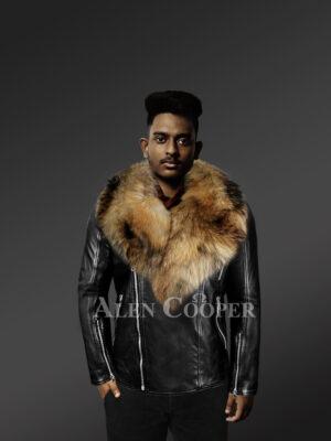 mens-biker-jacket-with- detachable raccoon-fur-collar With Model