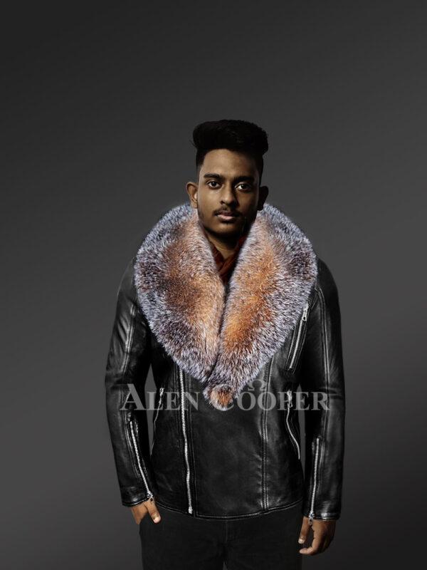 scandinavian-crystal-fox-fur-biker-jackets with Model