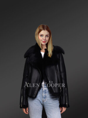 Black Toscana shearling ladies' coat assures perfect fit