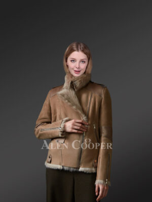 Brown Toscana shearling coat blending feminism with style